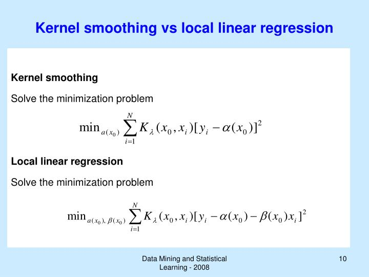 Kernel smoothing vs local linear regression