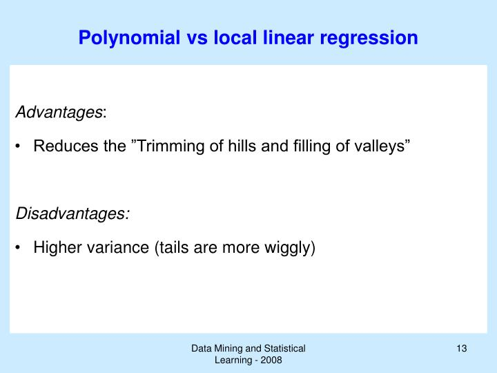 Polynomial vs local linear regression