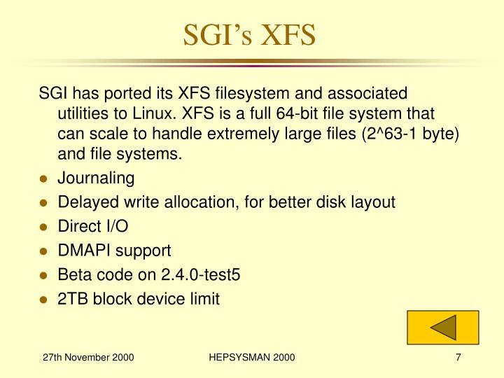 SGI's XFS