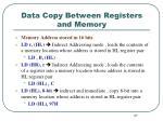 data copy between registers and memory