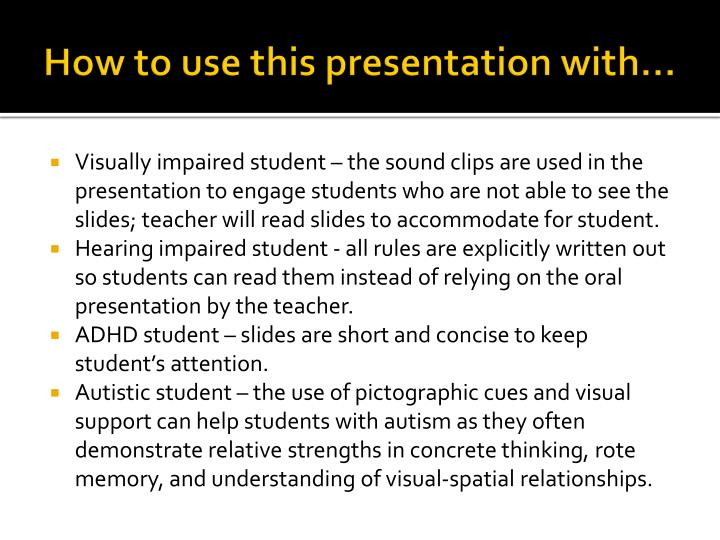 How to use this presentation with…
