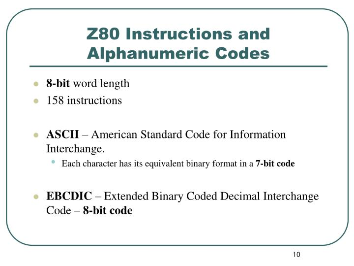 Z80 Instructions and Alphanumeric Codes