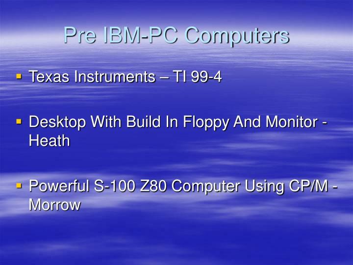 Pre IBM-PC Computers