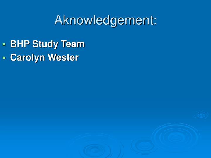 Aknowledgement: