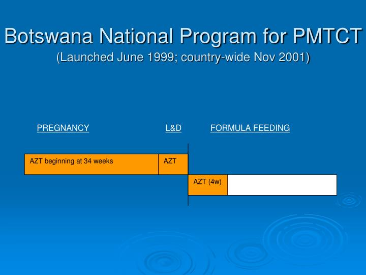 Botswana national program for pmtct launched june 1999 country wide nov 2001