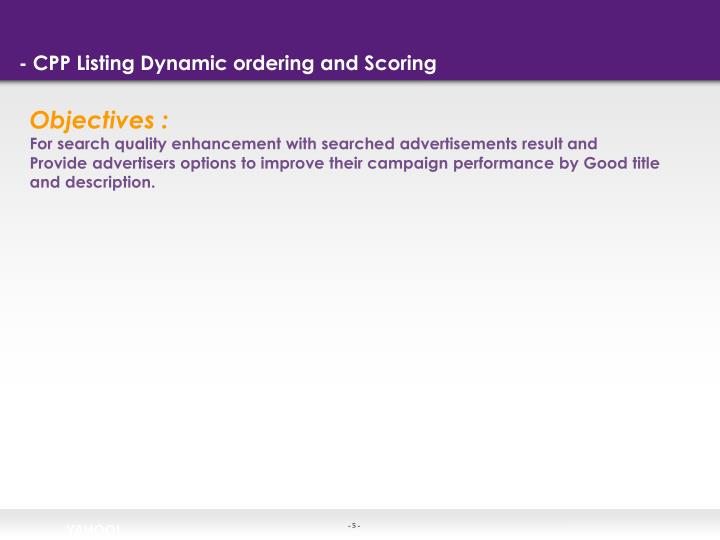 - CPP Listing Dynamic ordering and Scoring