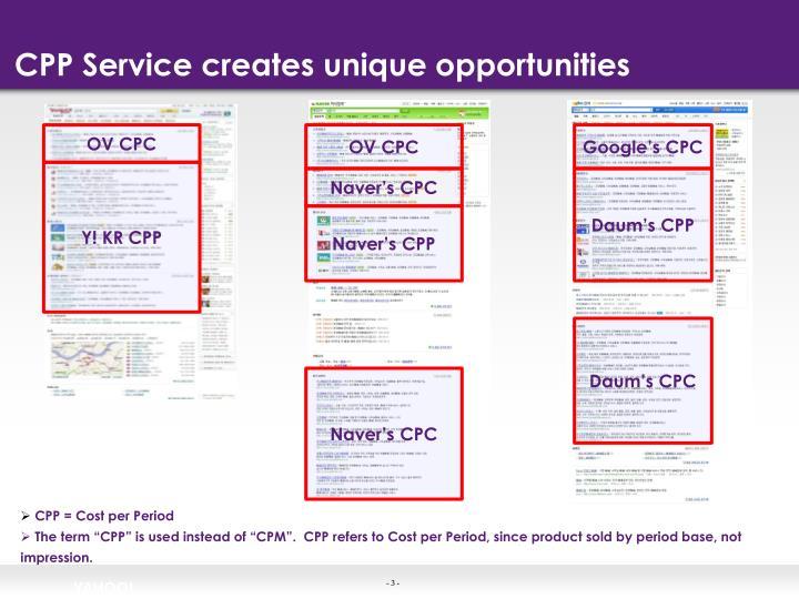 Cpp service creates unique opportunities