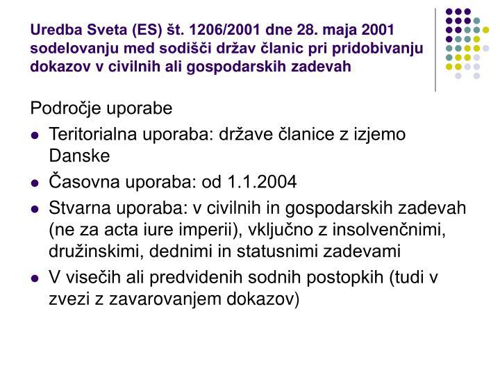 Uredba Sveta (ES) št. 1206/2001