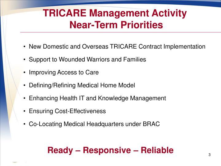 Tricare management activity near term priorities