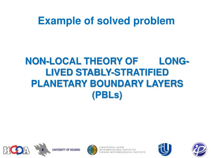 Example of solved problem