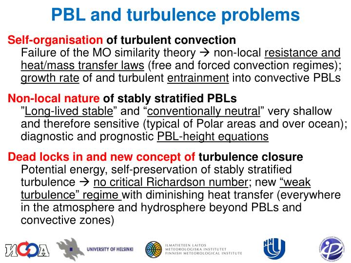 PBL and turbulence problems