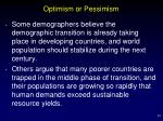 optimism or pessimism