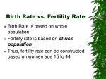 birth rate vs fertility rate