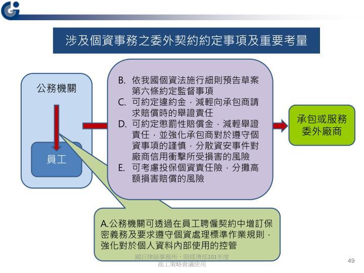 涉及個資事務之委外契約約定事項及重要考量