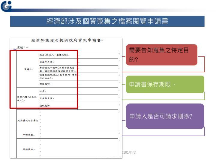 經濟部涉及個資蒐集之檔案閱覽申請書