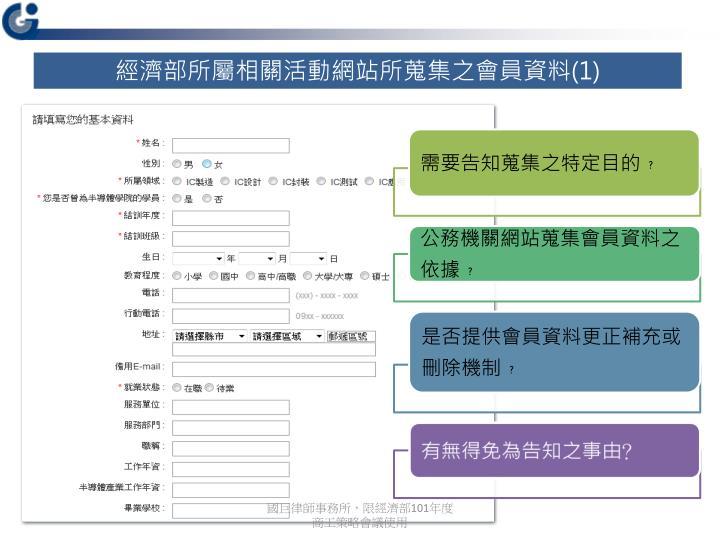 經濟部所屬相關活動網站所蒐集之會員資料