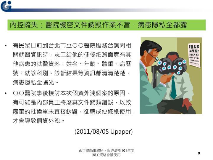 內控疏失:醫院機密文件銷毀作業不當,病患隱私全都露