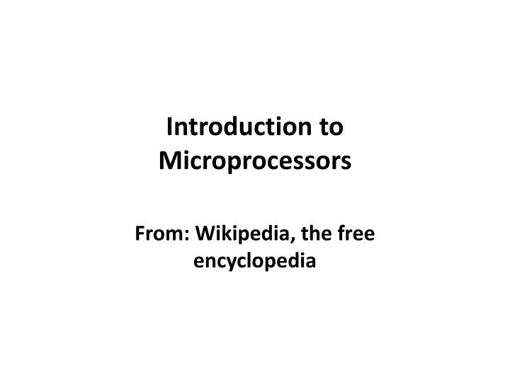 introduction to microprocessors n.