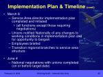 implementation plan timeline cont