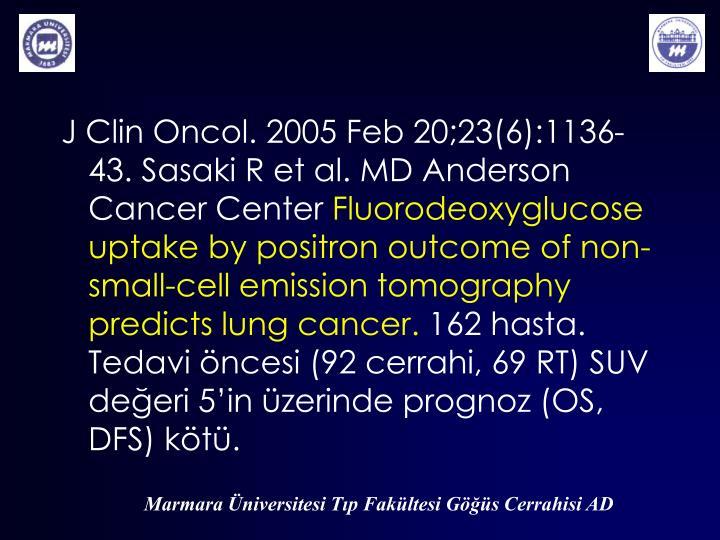 J Clin Oncol. 2005 Feb 20;23(6):1136-43. Sasaki R