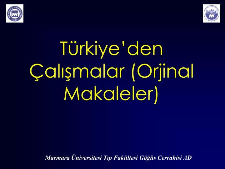 Türkiye'den Çalışmalar (Orjinal Makaleler)