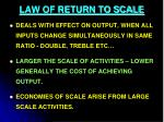 law of return to scale