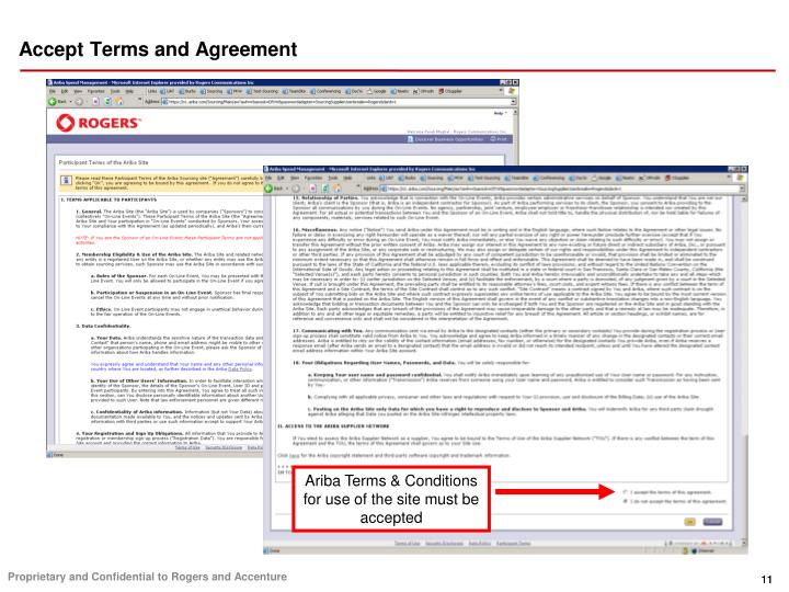 Accept Terms and Agreement