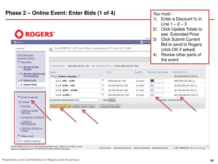 Phase 2 – Online Event: Enter Bids (1 of 4)