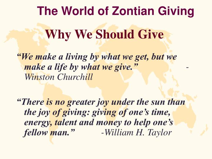 The world of zontian giving
