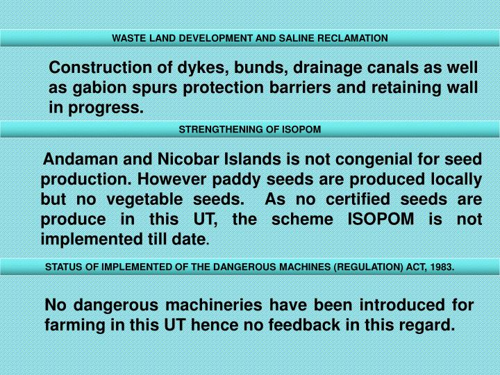 WASTE LAND DEVELOPMENT AND SALINE RECLAMATION
