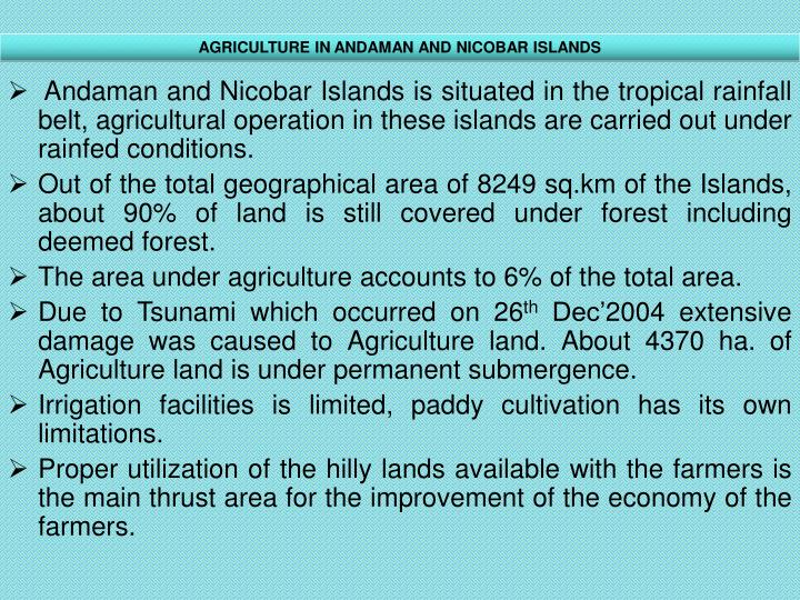 AGRICULTURE IN ANDAMAN AND NICOBAR ISLANDS