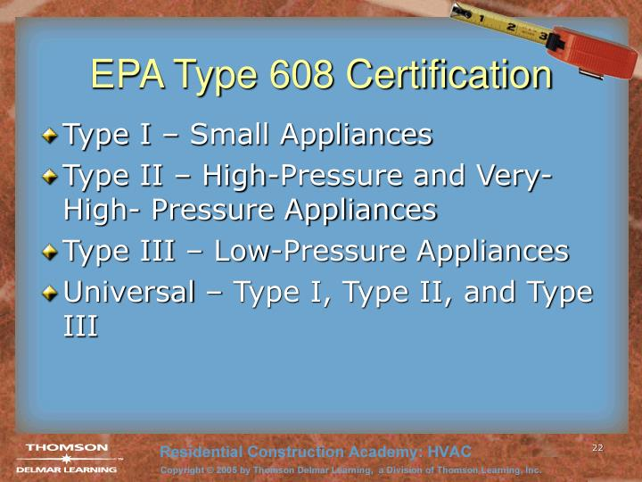 EPA Type 608 Certification