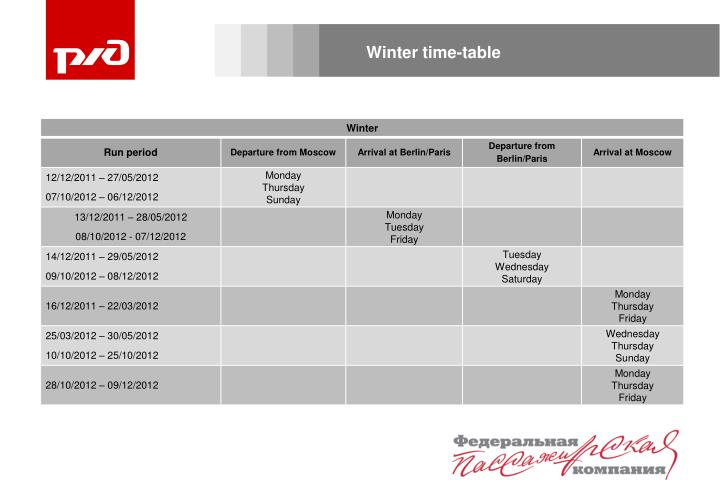 Winter time-table