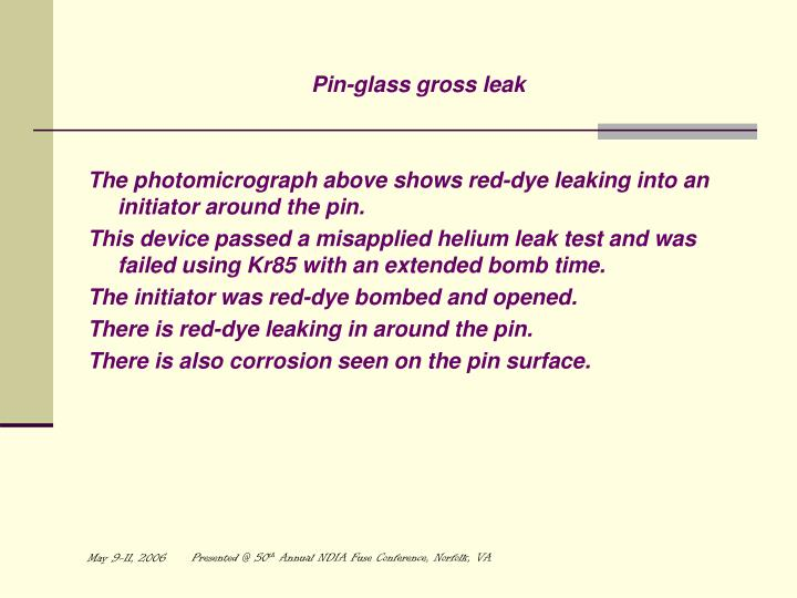 Pin-glass gross leak