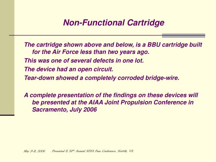 Non-Functional Cartridge