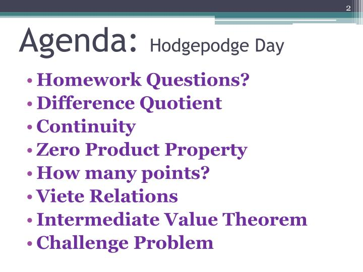 Agenda hodgepodge day