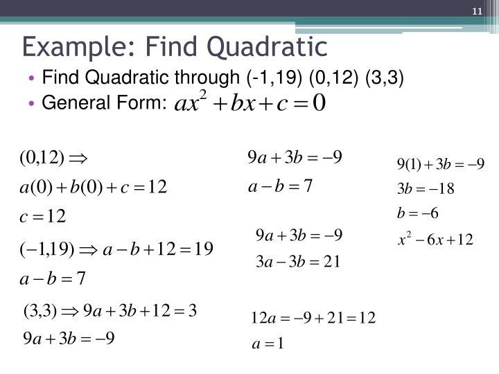 Example: Find Quadratic