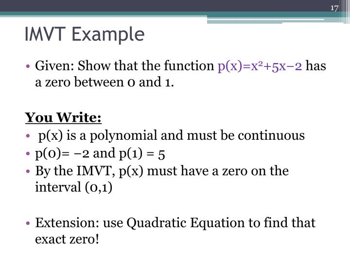 IMVT Example
