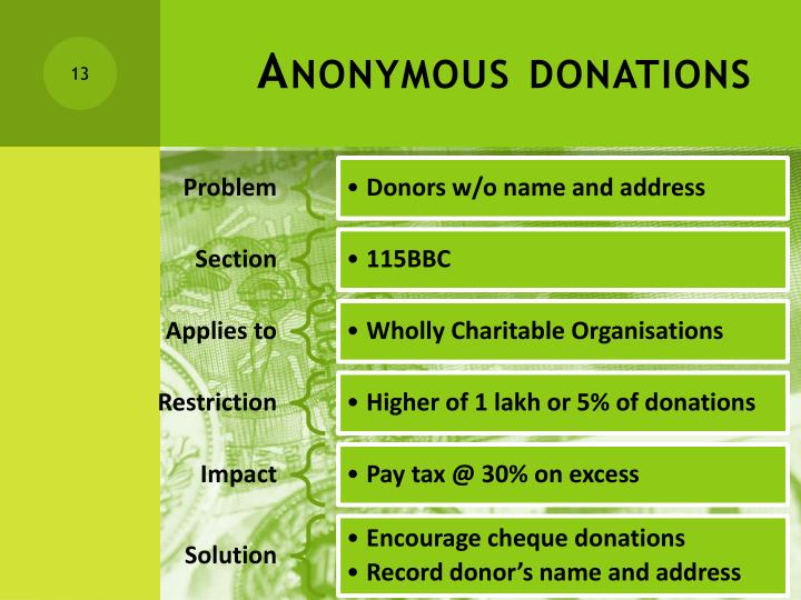 Anonymous donations