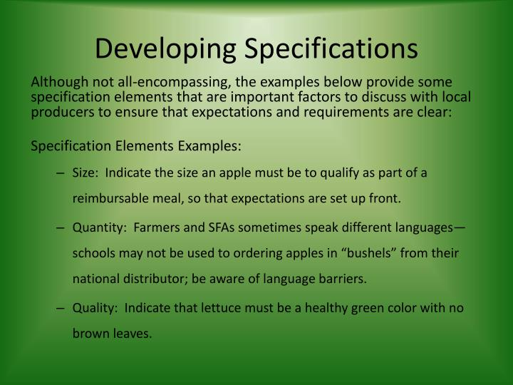Developing Specifications
