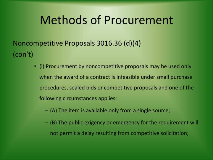 Methods of Procurement