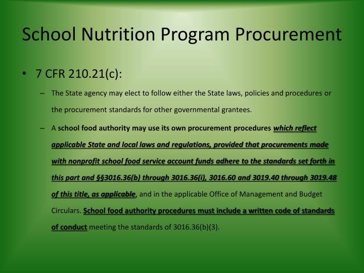School Nutrition Program Procurement