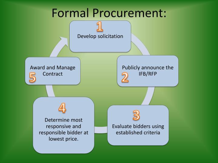 Formal Procurement: