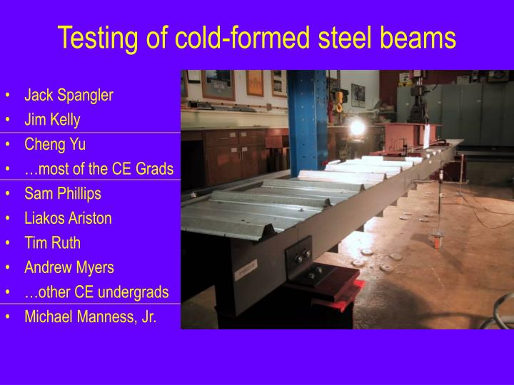 Testing of cold formed steel beams