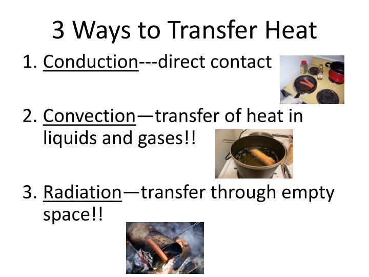 3 Ways to Transfer Heat