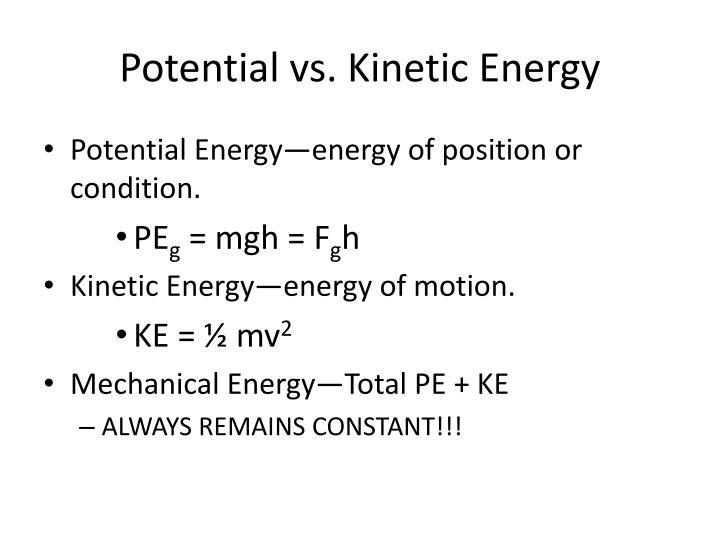Potential vs kinetic energy