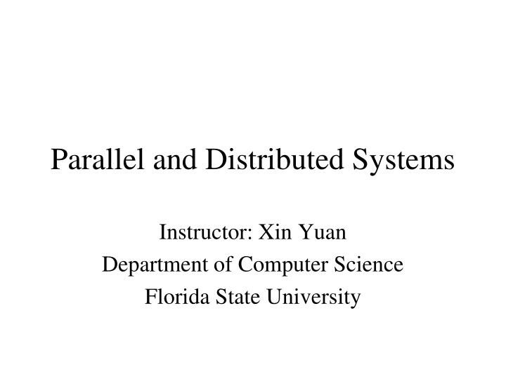 parallel and distributed systems n.