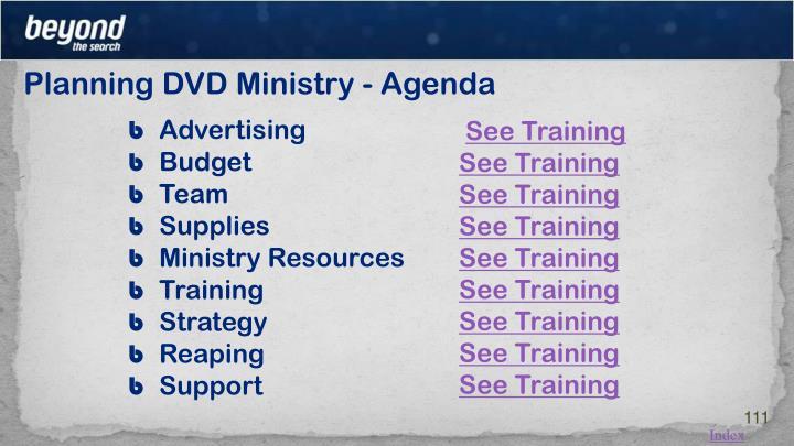 Planning DVD Ministry - Agenda