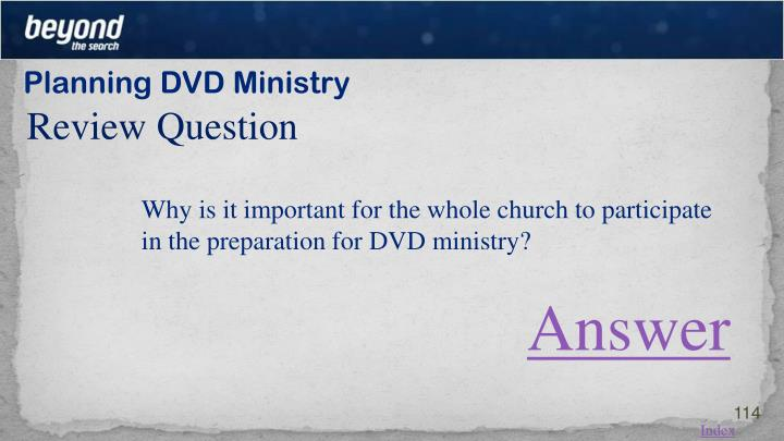 Planning DVD Ministry