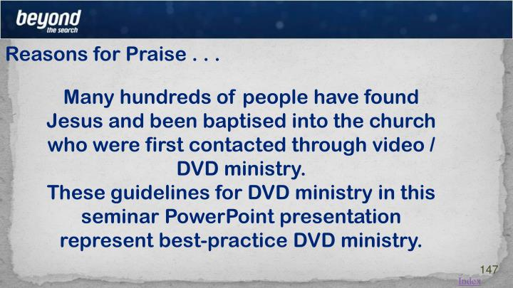 Reasons for Praise . . .